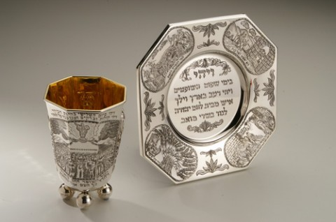 Shavuos Kiddush Cup and Plate